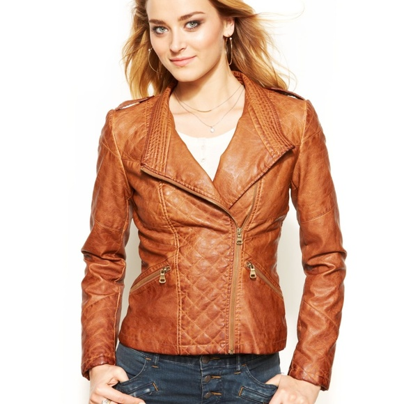 Guess Jackets & Blazers - Guess Brown Quilted Faux-Leather Moto Jacket